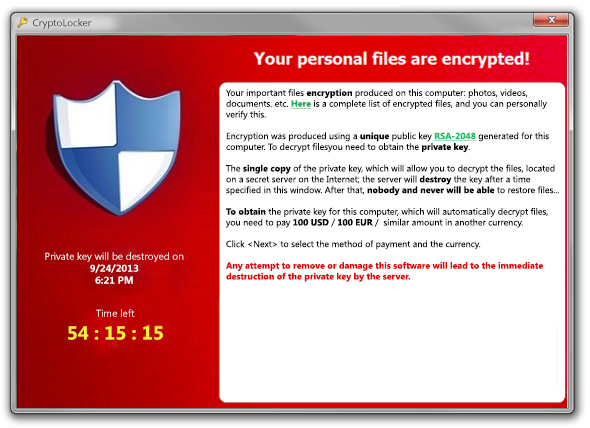 Ransom message from the Cryptolocker trojan