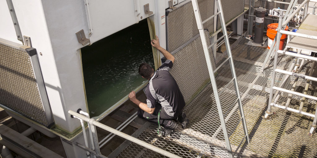 Visual inspection of a cooling tower